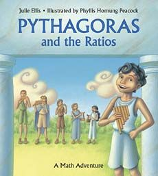 This follow-up to the educational title What's Your Angle, Pythagoras (above) continues with the storybook math lesson, but this time on Pythagorean ratios. In the story, young Pythagoras and his friends want to win a music contest, but their instruments are out of tune. In puzzling over the problem, Pythagoras uncovers mathematical relationships in the sounds.