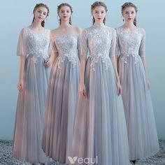 c12a10453c Eleganckie Szary Sukienki Dla Druhen 2018 Princessa Kótkie Rękawy Aplikacje  Z Koronki Długie Wzburzyć Bez Pleców Sukienki Na Wesele