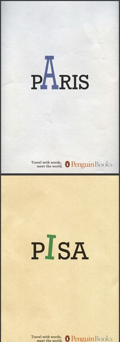 typography ads, Paris, Pisa