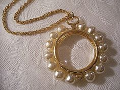 Pearl Magnifying Necklace Pendant Gold Tone Vintage Rope Link Chain