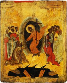Iconography of the Bright Resurrection of Christ. Byzantine Icons, Byzantine Art, Religious Icons, Religious Art, Holy Saturday, Roman Church, Black Jesus, Christ Is Risen, Russian Icons