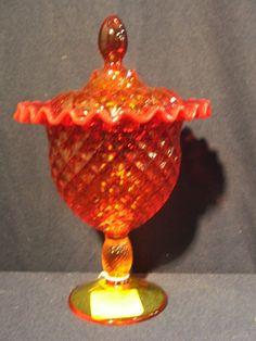 amberina glass | Amberina Glass Fluted Covered Compote | Amberina & Fenton | Pinterest