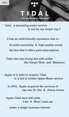 #Apple is looking to acquire Jay Z run music streaming service #Tidal  #tech #technology #vc http://arzillion.com/S/REZzMv