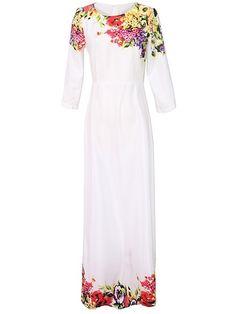 Charming  Round Neck  Printed Maxi-dress Maxi Dresses from fashionmia.com