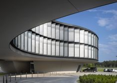 """ESO headquarters extension by Auer Weber conceived as """"flying saucer"""" Architecture Design, Architecture Magazines, Architecture Office, Facade Design, Concept Architecture, Amazing Architecture, Office Buildings, Building Elevation, Building Exterior"""