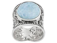 Round Cabochon Larimar Sterling Silver Wide Floral Design Band Ring Erv $119.00