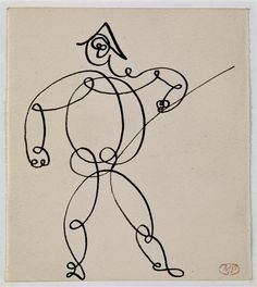 Art done with a single line…, Harlequin by Pablo Picasso / Paris, musée Picasso