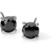 Blue Nile Black Diamond Stud Earrings in Sterling Silver (2 ct. tw.) ($530) ❤ liked on Polyvore