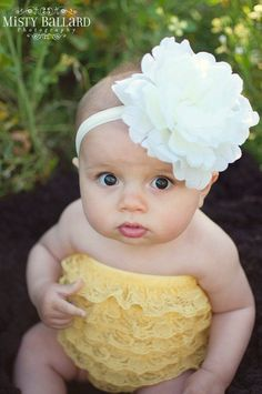 flower headband for toddler girl..newborn..white big flower headband..photography prop. $12.00, via Etsy.