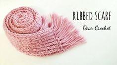 선물용으로 좋은 가벼운 목도리 (Crochet ribbed Scarf) - YouTube Crochet Stitches, Knit Crochet, Herringbone Stitch, Crochet Accessories, Chain Stitch, Knitted Hats, Free Pattern, Diy And Crafts, Projects To Try