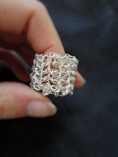 Insperation Wire crochet ring, silver plated, wide chunky band, silver tone, wiremesh ring, wire crochet jewelry on Etsy, $22.00