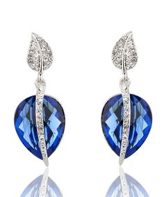 Look at this Blue Czech Crystal & Cubic Zirconia Pear Drop Earrings on #zulily today!