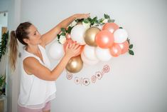 Rose Gold and White Balloon Garland Kit / First Birthday Balloon Arch / Chrome Gold / Birthday Backdrop/ Balloons / Do it Yourself / Wedding 5 Balloons, White Balloons, Balloon Wall, Balloon Arch, Balloon Garland, Latex Balloons, First Birthday Balloons, Birthday Backdrop, Gold Birthday
