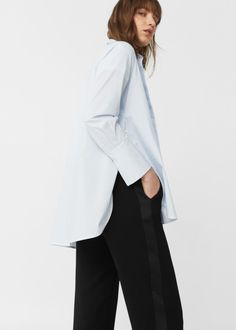 Contrast trim trousers   MANGO