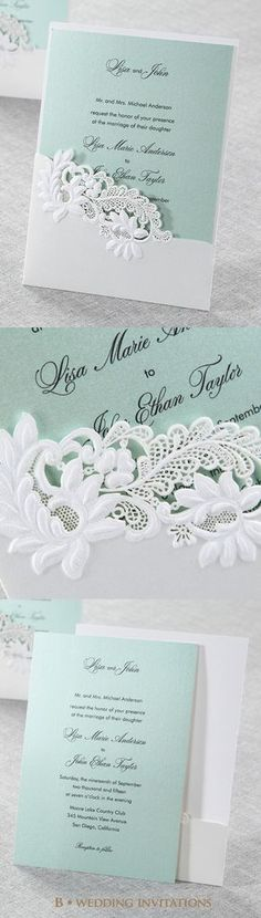 Embossed Laser Cut Open Pocket by B Wedding Invitations #bweddinginvitations…