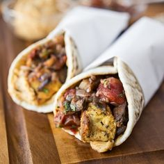 Spiced Moroccan Chicken Wrap with Grilled Eggplant, Tomato and Onion ...