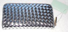 New Deux Lux Sunset Wallet Silver Woven Zip Around Organizer Gold Metallic Vegan