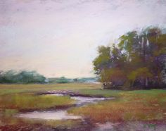 Kiawah Island Marsh Landscape Original pastel by Karen Margulis