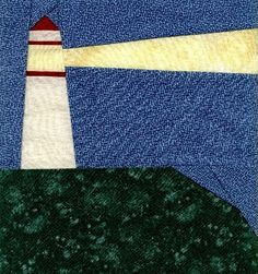 Camping Themed Quilts | paper pieced lighthouse block . . . House Quilts, Barn Quilts, Children's Quilts, Denim Quilts, Nautical Quilt, Nautical Theme, Paper Piecing Patterns, Quilt Patterns, Beach Quilt