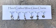 Stocking Fillers - Cat Lovers - Wine Glass Charms - Christmas Gifts - Teachers Gifts - Gifts for Her - Gifts for Him