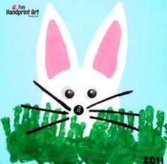 Peeking Bunny with Handprint Grass Easter Craft for Kids