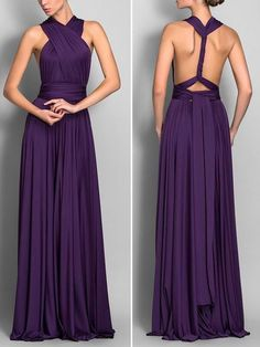 A Line Halter Backless Grape Purple Chiffon Long Bridesmaid Dress