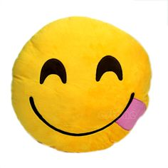 New Emoji Smiley Emoticon Yellow Round Cushion Pillow Stuffed Plush Soft Toy | eBay