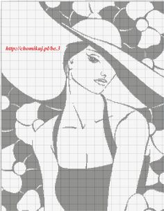 point de croix femme au chapeau monochrome - cross stitch lady with large hat