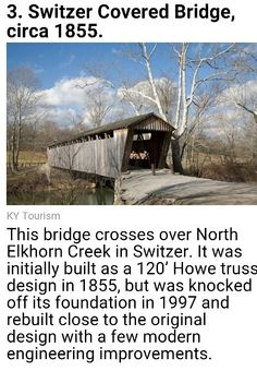 Switzer Covered Bridge in Franklin County, Kentucky #kentucky #coveredbridges