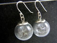 Silver Earrings – 925 Real Dandelion Earrings PURE & SIMPLE – a unique product by VillaSorgenfrei on DaWanda