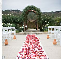 Love the aisle of petals!