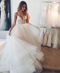 Beautiful Beach Wedding Dress,Sexy A line Wedding Dress,Spaghetti Strap Wedding Dresses,Ivory Tulle Wedding Dress