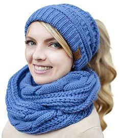50d1fd4e6cb Women Hat Scarf Winter Set - Knitted BeanieTail Hat Scarf Set Warm (Blue)