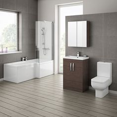 Brooklyn Brown Avola Bathroom Suite with L-Shaped Bath