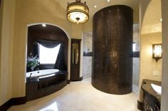 Walk through shower with curved wall. (LOVE)