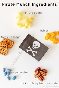 Pirate Munch Party Mix Ingredients- Great for The Littlest Pirate themed party. Pirate Snacks, Pirate Food, Pirate Day, Pirate Theme, Pirate Fairy Party, Fairy Birthday Party, Pirate Birthday, Boy Birthday Parties, Fairy Food