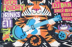 Tiger's Band illustration for club night poster