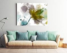 """An unfinished symphony II. Floral Painting, Green Abstract Art, Abstract Colorful Contemporary Canvas Art Print up to 72"""" by Irena Orlov"""