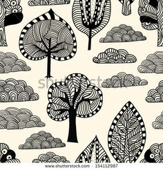 Doodle Trees and Clouds Seamless Pattern - stock vector