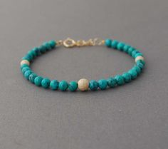 Turquoise Stone Layer Beaded Bracelet. $25.00, via Etsy.