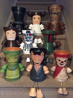 Star wars characters Princess Leia,Yoda, Chewbacca, Darth Vader, Obi-wan Pot People