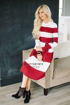 Holiday Red & White Bold Stripe Dress