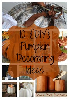 If you enjoy fall decorating with pumpkins, you will love this collection of 10 DIY Pumpkin Decorating Ideas! They are sure to inspire you this fall season! Glass Pumpkins, Fabric Pumpkins, Fall Pumpkins, Halloween Pumpkins, Fall Crafts, Halloween Crafts, Holiday Crafts, Holiday Ideas, Autumn Ideas