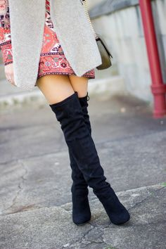 Winter Outfit Idea: dress, vest & over the knee boots