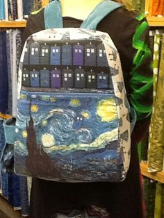 Doctor Who knapsack.  Made by Ruth Snell.   I used InnControl, a fusible interfacing to give the knapsack body and the straps and back is Corduroy so it feels great.
