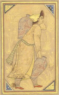 A Youth Carrying Jars Later Ascribtion To Reza 'abbasi, Qajar Iran, 19th Century