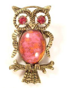 Vintage Pink & Orange Owl Pendant Brooch - costume #jewelry