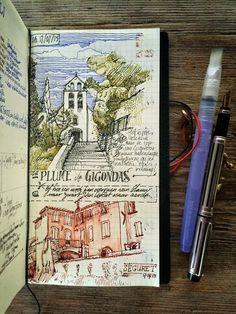 Gigondas - Séguret, two villages to remember if you like wine. Urban Sketches and Travel Journals on Moleskine. By dessinauteur.