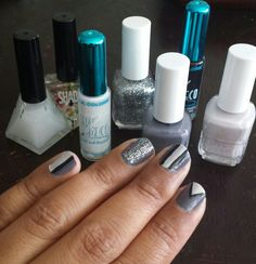 Grey, black, and white mod chic nail art