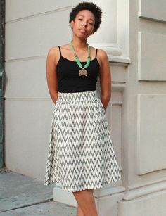 Fair Trade & Handwoven Cotton Black & White Midi Skirt - Passion Lilie